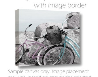 Bike Photography-Beach Photography-Coastal Wall Decor-24x36-Horizontal Canvas-Pink-Gray-Teal-Fine Art Photography-Bicycles on Beach