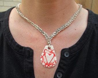RED HEART Ceramic Art Pendant Hemp Necklace