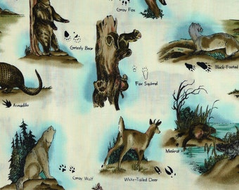 White Wild Animals Print, Quilting Cotton Fabric, Hi Fashion 5045, Pawprint, Patrick Lose, Brown, Blue, half yard, B14