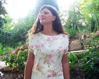 vintage silk blouse Floral M