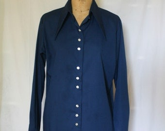 Blue Sears Blouse with Button Front and Cuffs