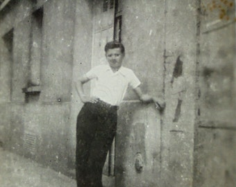 Vintage B/W Photo - Young Man Stood by a Building with a Hand on his Hip