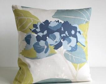Cotton Pillow Cover, Scandinavian Pillow Sham, Pillow Cover, Cushion Cover, Pillowcase, Pillow Case - Scandi Leaf Duck Egg