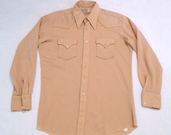 H Bar C Corduroy Western Shirt Vintage Ribbed Knit Cowboy Shirt 1970s Size Medium 17 - 35 Long Tail Tall Khaki Rockabilly Shirt