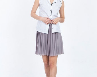 White sleeveless blouse, white blouse, white button down shirt, print blouse, blouse, summer blouse, womens blouses