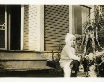 "Vintage Photo ""The Outdoor Christmas"" Snapshot Photo Old Antique Photo Black & White Photograph Found Photo Paper Ephemera Vernacular - 60"