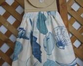 Sea Shell Kitchen Tea Towel Beach Theme Hanging Kitchen Dish Towel Tan Blue White Towel SnowNoseCrafts