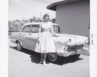 Vintage 1960's Pretty young woman by antique car DIGITAL DOWNLOAD