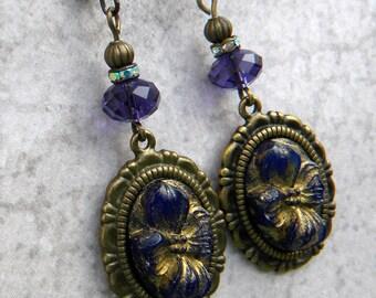 Purple Violet Earrings, Purple CAmeo Earrings, Vintage Purple Earrings, Violet Cameo Jewelry