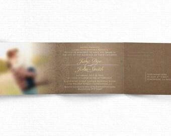 Rustic Tri-Fold Wedding Invite with RSVP Tear-off!