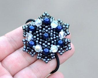 Metallic Flower Beaded Ponytail Holder, Boho Hair Accessories, Bead Hair Ties, Chic Beaded Hair Band, Fashion Accessory