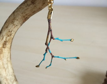 Turquoise Twig Earrings with Gold Accents