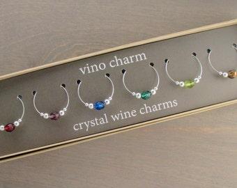 6 - Crystal Wine Charms | Gift Box | Wine Glass Charms - Unique Wine Gift - Wine Tasting Gifts - Wine Glass Markers - Wine Tags | SPC6-1