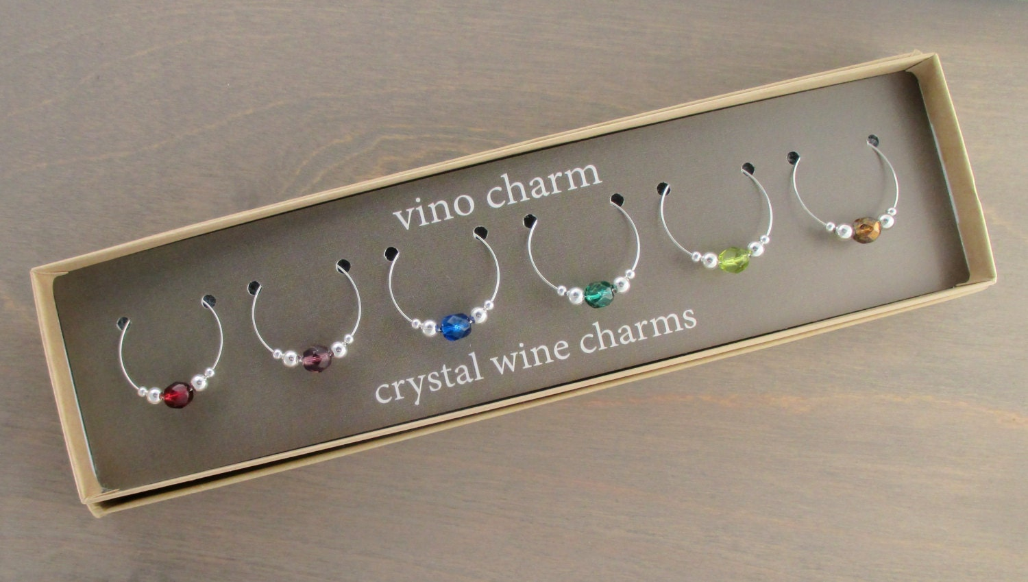 6 wine charms gift box wine glass charms