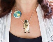 Astronaut and the World Necklace Jewelry Geekery Planet Earth Galaxy Space