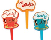 Cupcake Toppers, 12 Thanks A Latte Cupcake Picks, Coffee Bar Cupcake Topper, Dessert Bar, Table Setting, Baking Supplies, Latte Decorations