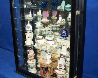 Black Collectors Curio Cabinet Wall Mounted or Tabletop Display for Collectibles