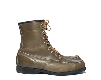 10 | Men's Wolverine Hunting Sport Boots Moc Toe Work Boots in Green Tone Leather