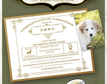 Pet Adoption Certificate by Papier Creatif Printable Vintage