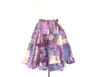 High Waisted Cotton Circle Skirt. Purple - Blue - Tan. Vintage 80s. Small - Medium.