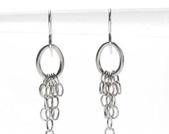 sterling chain fringe earring