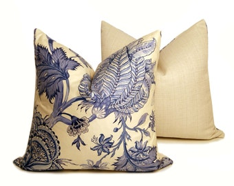 "16"" Set - Blue Vintage Floral Pillow"