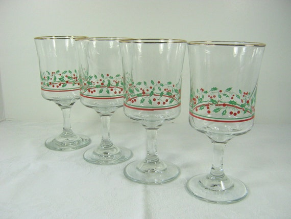 Vintage christmas wine goblets holly glasses holiday set 4 for Holiday stemware