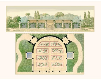 French Garden Plans with House. Garden House Art Print from Paris 1809 Original Watercolor. Plans de Jardins. Garden Architectural Plans