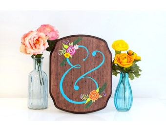 Ampersand wood sign, ampersand art, floral ampersand, wedding decor, wedding sign, painting on wood, colorful wood art, rustic wood sign