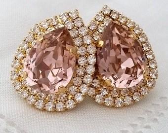Blush extra large bridal earrings,Moeganite bridal earrings,Blus pink bridesmaid earrings,stud earrings,statement earring,swarovski earring
