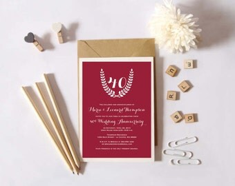 Instant Download - 40th Wedding Anniversary Invitation -  Ruby Anniversary - Custom Printable