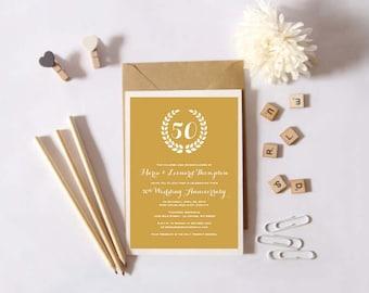 Instant Download - 50th Wedding Anniversary Invitation -  Gold Anniversary - Custom Printable
