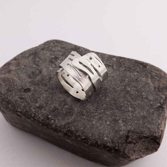 Birch Bark Ring - Handcrafted Nature Jewelry - Wrapped Ring in Argentium Silver