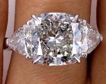 Reserved..6.63ct Vintage Square Cushion Cut Diamond Engagement Wedding Trilogy Platinum Ring