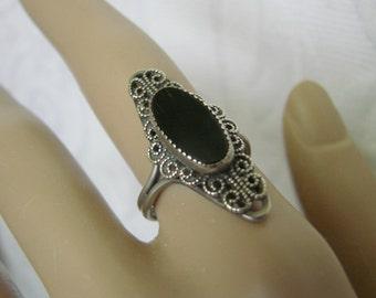 BEAU Sterling Black Onyx Filigree Ring / Designer Signed / Vintage Jewelry / Jewellery