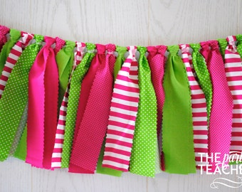 Pink Green Fabric Bunting - FREE Shipping - Pink Green Bunting - Pink Green Garland - Pink Green Banner - Pink Green Party