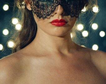 Halloween Mask - Masquerade Mask - Black Lace Mask - Mardi Gras Mask - Womens Eye Veil Costume - Strapless Face Lace Masks - Prom- Dance