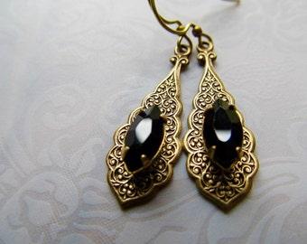 Gothic Earrings Art Deco Earrings Art Nouveau Earrings 1920s Earrings Marquis Earrings Black Earrings Jet Black Earrings-Bombay Nights