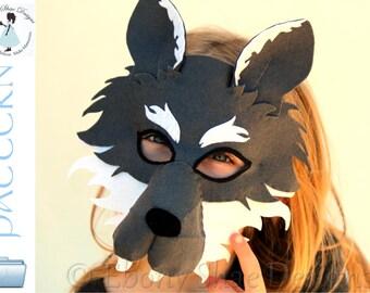 Wolf Mask PATTERN. Digital Sewing Pattern- Kids Wolf Costume.