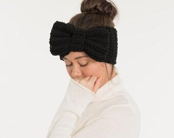 Black Big Bow Knit Headband, Chunky Over-Sized Crochet Ear Warmer, Handmade, Crocheted, Women's, Girl's Warm, Statement, Winter Accessory