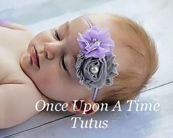 Lavender Gray Shabby Chiffon Headband - Grey Baby Girl First Photo Prop - Trendy Modern Little Girls Hairbow Accessory - Skinny Hair Bow