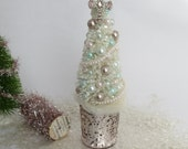 Shabby Cream Pink Christmas Tree, Bottle Brush Tree, READY TO SHIP, Pink Cross Topper, Vintage, Victorian, French Christmas