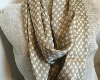 Taupe Chevron Silk Infinity Scarf - Cream / Tan / Brown