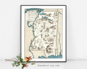 Fun vintage MISSISSIPPI PICTURE MAP - digital image download - printable state map - frame it, totes, pillows, prints - home decor, wall art