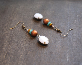 Bohemian Beaded Earrings White Drop Earrings Bohemian Gypsy Earrings Boho Gypsy Jewelry Southwest Style Earthy Drop Earrings Tribal Boho