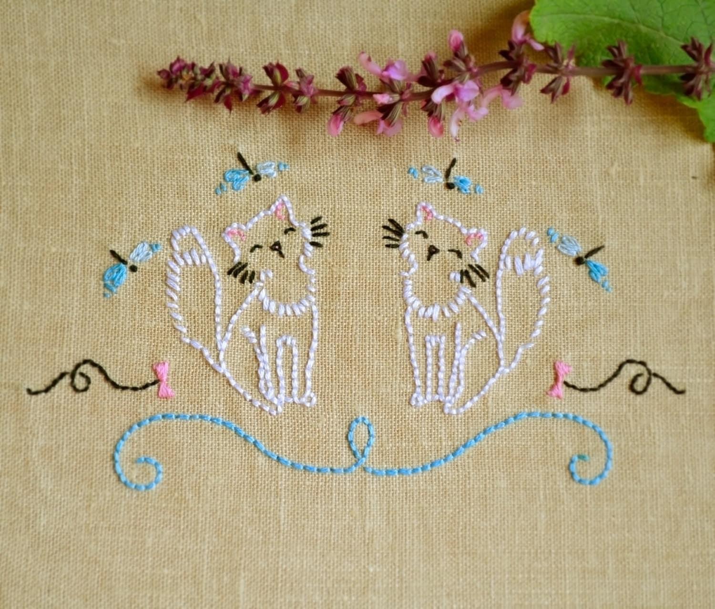 Cat Hand Towel Embroidery Design Ecosia