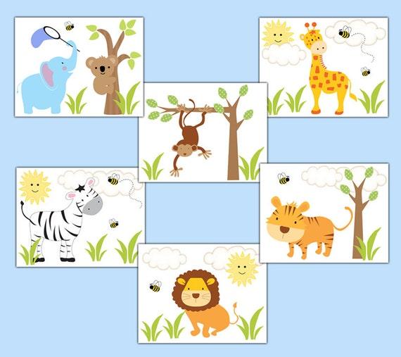 SAFARI NURSERY ART Print Baby Boy Jungle Zoo by decampstudios