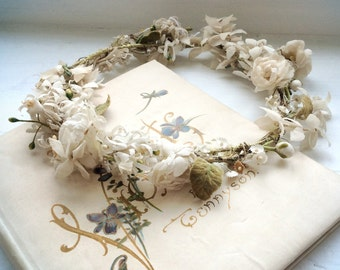 DELICATE little 1800s flower garland WOODLAND tiara, distressed and delightful. TIARA 39