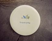 Blue Bird Ring Holder Thank You Plate Little Bird Ceramic Ring Dish Ivory Ring Pillow Custom Ring Bearer Bowl Eco Friendly Pottery