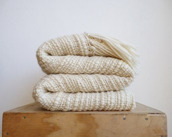 Natural Organic Textured Merino Wool, Chunky Knit Blanket, Off White Afghans Throw Blanket hand woven